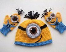 Despicable Me Minion ensemble-Minion Hat et Minion mitaines gants - Baby Boy Girl Photo Prop Set-costumes d'halloween pour bébé