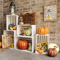 """9,186 Likes, 22 Comments - Hobby Lobby (@hobbylobby) on Instagram: """"Give your outdoor decor an autumn look with DIY crate shelving and gourds! Link in bio.…"""""""