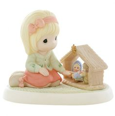 Girl with Nativity Figurine - Precious Moments - so cute!