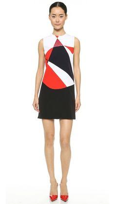 Victoria Victoria Beckham Sleeveless Colorblock Dress