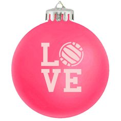LOVE volleyball ornament in HOT PINK!