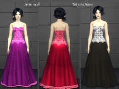 Lace dress 03 by TatyanaName at TSR via Sims 4 Updates Sims 4 Dresses, Strapless Dress Formal, Formal Dresses, Sims 4 Game, Sims 4 Update, Sims 4 Clothing, Lace Dress, Pants, Female
