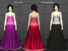 Lace dress 03 by TatyanaName at TSR via Sims 4 Updates