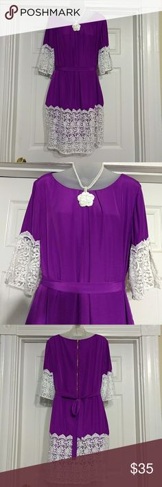 Gianni Bini Dress Size Large Purple and White Lace Beautiful dress by Gianni Bini. Excellent condition as far as I can see.  Fully lined, silky feeling, purple dress with white lace on the hem and sleeves. Detachable purple belt makes it for your body just right :-).  Size Large.  100% Polyester  From a smoke-free home.  Thank you so much for looking and please feel free to ask any questions.  This is my first listing on Poshmark. So please forgive me if I do something wrong. I'm still…