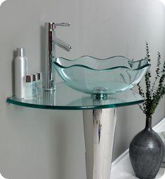 Fresca Netto Modern Glass Bathroom Vanity w / Wavy Edge Vessel Sink Free Wasserhahn - Counter Top Sink Bathroom, Glass Bathroom Sink, Bathroom Sink Design, Glass Vanity, Bathroom Colors, Modern Bathroom, Glass Basin, Glass Vessel Sinks, Glass Countertops