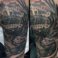 69 Ideas music tattoo for men hip hop Emo Tattoos, Tribal Arm Tattoos, Tattoos Geometric, Badass Tattoos, Music Tattoos, Tatoos, Cover Up Tattoos For Women, Neck Tattoo For Guys, Wrist Tattoos For Women