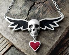 Winged skull necklace  silver and concrete by lulubugjewelry, $98.00