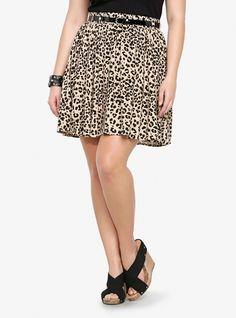 2. Leopard Challis Skater Skirt