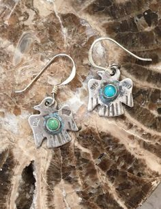 Thunderbird Earrings with Turquoise Sterling Silver Fred Harvey Era Pierced