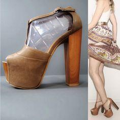 **DROOL** 70s DANY Wood Disco Platforms Heel Sandals by GeronimoVintage