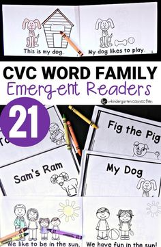 Build fluency and confidence with these 21 CVC word family emergent readers! Quick to print, staple, and read for Kindergarten guided reading books. Word Family Activities, Cvc Word Families, Literacy Activities, Vowel Activities, Language Activities, Kindergarten Books, Differentiated Kindergarten, Kindergarten Centers, Emergent Readers