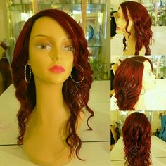 Beautiful Custom colored virgin hair KELLY...Raging red. All virgin hair wigs are safely colored to maintain the integrity of the cuticles. Visit www.etsy.com/shop/beautifulandrareexts to order yours today!