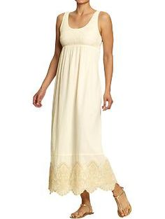 Women's Smocked-Embroidered Maxi Dresses | Old Navy - supposedly works as a maternity dress, too. cute!