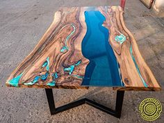 Live edge river dining table with turquoise glowing resin - esszimmertisch - Resin Patio Furniture, Backyard Furniture, Patio Furniture Cushions, Living Furniture, Live Edge Furniture, House Furniture, Wood Furniture, Live Edge Tisch, Live Edge Table