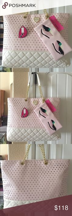 """NWT! BETSEY JOHNSON BLUSH TOTE BRAND NEW! AUTHENTIC BETSEY JOHNSON BLUSH TOTE-Approximate Measurements are 5"""" W X 12"""" H X 5""""....with a handle drop of approximately 9""""....Laser cut out hearts, with gold lining behind the hearts....So Cute!! Betsey Johnson Bags Totes"""