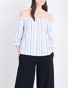WHISTLES Sarah striped off-the-shoulder woven top