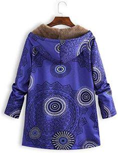 ITISME Manteaux Femmes Hiver Grande Taille Encapuchonné Manche Longue  Molleton Vintage Dames Épais Impression Manteau Zipper Blousons Chic M-5XL   Amazon.fr  ... f19d6b95e4e