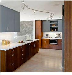 light floor, grey walls and dark cabinets