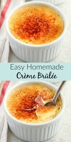This Easy Crème Brûlée is made with just four ingredients and features a rich custard base with a crisp caramelized topping. #cremebrulee #dessert #recipe