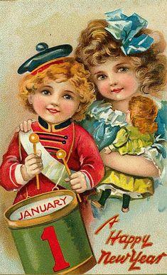 Коллекция картинок: Винтажные рождественские и новогодние открытки 4