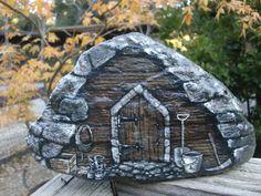 ROCKIN MOUNTAIN SHED detailed rock art by MyGardenRocks on Etsy