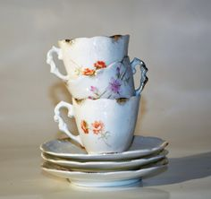 Victorian Demitasse Welmar Germany/Porcelain Tea Set of 3 by decor4home2 on Etsy