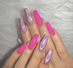 Delicate 30 holographic nail Increase the charm of girls – : I have to say that holographic nails are really great, it occupies nail fashion trends throughout the year. Holographic nails are shiny and have no extra designs. They look simple but charming. Pink Chrome Nails, Hot Pink Nails, Pink Acrylic Nails, Pink Acrylics, Holographic Nails Acrylic, Bright Pink Nails, Aycrlic Nails, Neon Nails, Coffin Nails