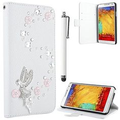 Note 3 Case, Galaxy Note 3 Flip Case - ULAK PU Leather Luxury Bling 3D Cross Rhinestone Lady Wallet Case Cover for Samsung Galaxy Note 3 Note III N9000 with Screen Protector and Stylus (Angel/White) ULAK http://www.amazon.com/dp/B00KL6VLBA/ref=cm_sw_r_pi_dp_BHGkub18Q6K5N