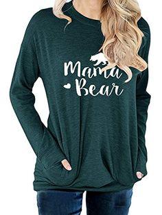 dfa2618889581 Aking Ace Women Long Sleeve Mama Bear Letter Print Sweats... https