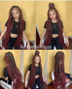 How to style the box braids? Tucked in a low or high ponytail, in a tight or blurry bun, or in a semi-tail, the box braids can be styled in many different ways. Black Girl Braids, Braids For Black Hair, Girls Braids, Braids For Black Women, Box Braids Hairstyles, Baddie Hairstyles, Protective Hairstyles, Updo Hairstyle, Prom Hairstyles