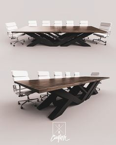 Meetings that mean business. Contemporary Conference Tables. Steel x Walnut iRcustom.com Metal Furniture, Office Furniture, Furniture Design, Industrial Table, Modern Industrial, Conference Table Design, Office Table Design, Custom Desk, Modern Desk