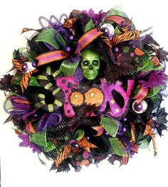 Skull Wreath Black Halloween Wreath Spooky by ArtificialWreaths