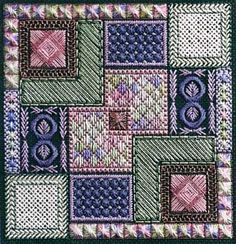 Inside the Box is a fun canvas project filled with some specialty stitches and bling. The stitch count is 99 x 99. Supplies required: 18-count Victorian Green canvas (9281-500) Caron Collection Watercolours: 064 Rainbow Gallery Sparkle Braid: SK28, SK12