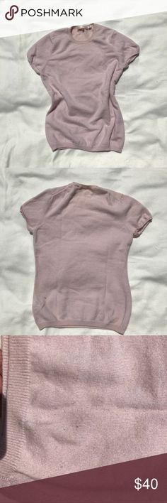 """Uniqlo pink cashmere short sleeve sweater. 100% cashmere. Super comfortable. Minor sign of wear (see last two pictures).   Measurement:  Pit to pit: 17"""" Length: 23""""  From pet-free, smoke-free home. Uniqlo Sweaters Crew & Scoop Necks"""