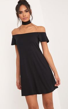 Manina Black Jersey Bardot Shift Dress