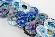 Blue Handmade Designer Soutache Bracelet with Natural Cat s Eye Stone Gift Ideas   eBay