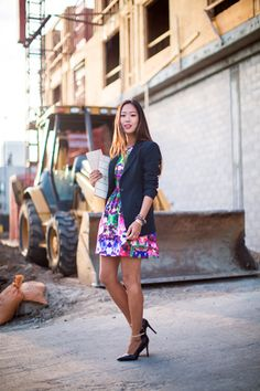Women's #brownbearwear #businesscasual #creativeindustry   a floral dress with a men's blazer