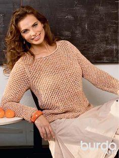 Описание вязания на спицах сетчатого пуловера из журнала Burda. Creazion 03/2014