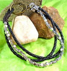 Triple strand bracelet with one strand metal by ScottysDesign