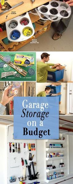 Garage Storage on a Budget • Lot's of projects and ideas to keep your garage organized and neat! #garagestorage #budgetstorageideas #storageideas #garagestorageideas #garageorganizer