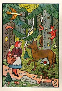Josef Lada, 'Karkulka and Wolf', 1953 Vintage Food Posters, Children's Book Illustration, Wolves, Mythology, Childrens Books, Illustrators, Fairy Tales, The Past, Printables