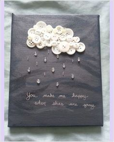You Make Me Happy When Skies Are Gray button art on Etsy. Fun Crafts, Crafts For Kids, Arts And Crafts, Paper Crafts, Music Crafts, Diy Paper, Paper Art, Cuadros Diy, You Make Me Happy