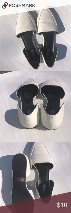 WHITE POINTED BALLET FLATS SIZE 8 Super cute flats. No real signs of wear besides the slight creasing but it's not bad. Really cute staple shoe. Charlotte Russe Shoes Flats & Loafers