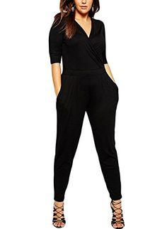 Lalagen Womens Plus Size Wrapped V Neck Long Party Jumpsuits Romper Black XXXL *** Click image to review more details. (Note:Amazon affiliate link)
