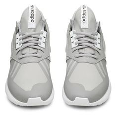 Adidas Grey and White Tubular Runner ($150) ❤ liked on Polyvore featuring shoes, sneakers, adidas, flats, flat heel shoes, flat shoes, gray shoes and white shoes