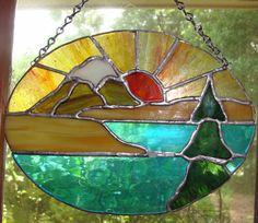Winter Morning Mountain Sunrise  Stained Glass by MelaniesGlassArt