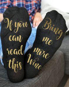 Wine socks Custom socks If you can read this bring me more wine gold Socks    eBay