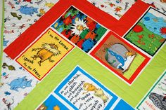 Dr Seuss Lorax Baby Quilt, girl or boy. Organic fabric. Blue green red yellow white, reversible.