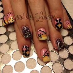 Beautiful nail design... Love the colors