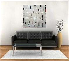 Abstract painting modern art black and white original by MODERN707